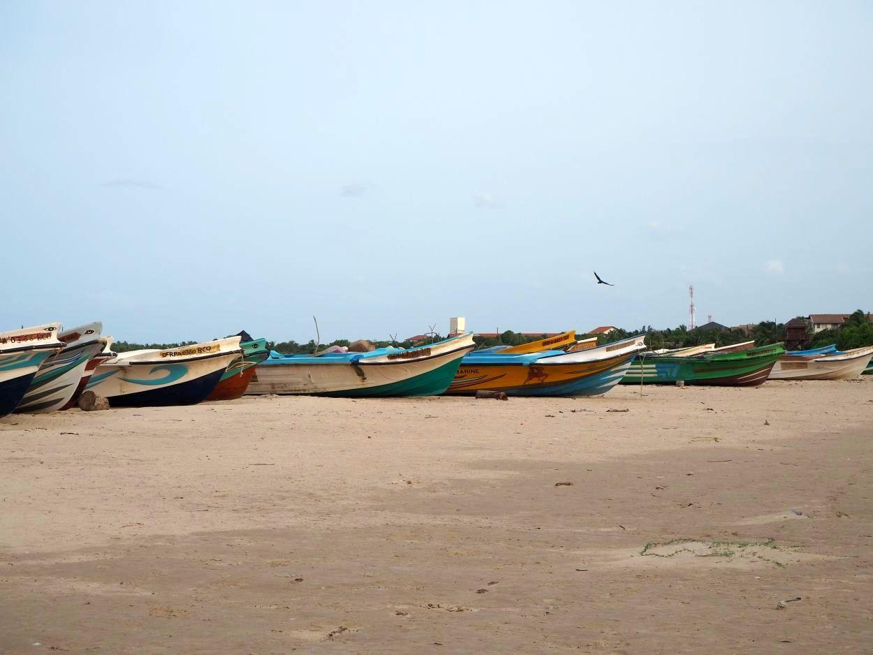 Fischerboote am Strand vom Sri Lanka