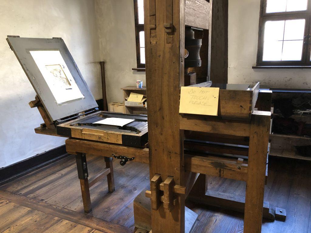 Druckerpresse im Dürerhaus in Nürnberg