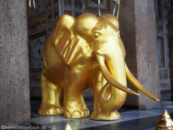 Goldener Elefant in einem Tempel in Sri Lanka